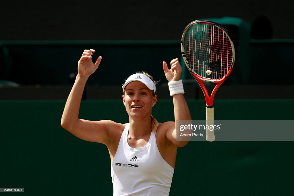 Angelique Kerber of Germany celebrates victory during the Ladies Singles Semi Final match against Venus Williams of The United States on day ten of the Wimbledon Lawn Tennis Championships at the All England Lawn Tennis and Croquet Club on July 7, 2016 in London, England.