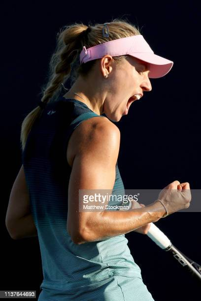 Angelique Kerber of Germany celebrates while playing Karolina Muchova of Czech Republic during the Miami Open Presented by Itau at Hard Rock Stadium...