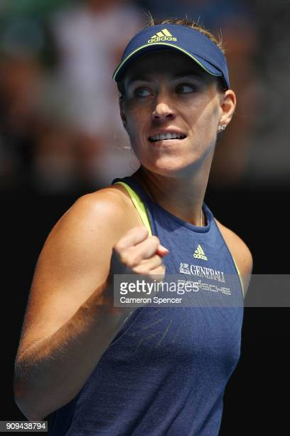 Angelique Kerber of Germany celebrates winning a point in her quarterfinal match against Madison Keys of the United States on day 10 of the 2018...