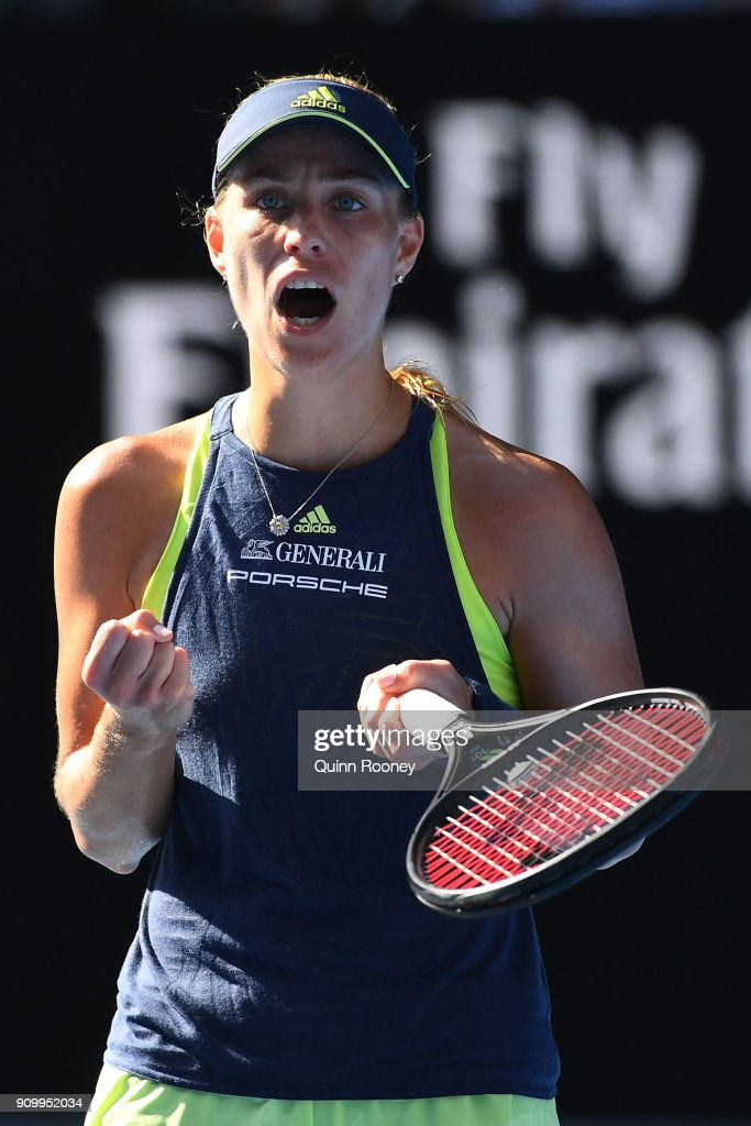 Angelique Kerber of Germany celebrates winning a point in her semi-final match against Simona Halep of Romania on day 11 of the 2018 Australian Open at Melbourne Park on January 25, 2018 in Melbourne, Australia.