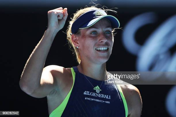 Angelique Kerber of Germany celebrates winning a point in her second round match against Donna Vekic of Croatia on day four of the 2018 Australian...