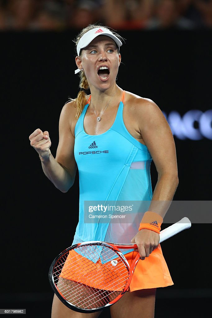 Angelique Kerber of Germany celebrates winning her first round match against Lesia Tsurenko of the Ukraine on day one of the 2017 Australian Open at Melbourne Park on January 16, 2017 in Melbourne, Australia.