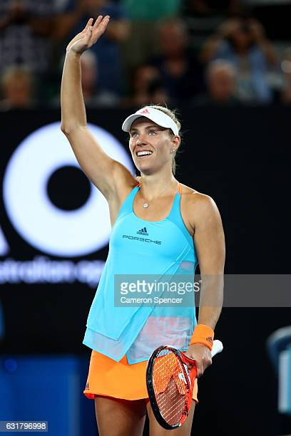 Angelique Kerber of Germany celebrates winning her first round match against Lesia Tsurenko of the Ukraine on day one of the 2017 Australian Open at...