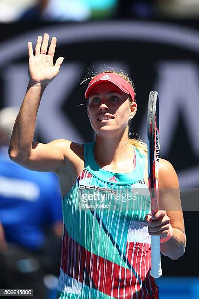 Angelique Kerber of Germany celebrates winning her fourth round match against Annika Beck of Germany during day eight of the 2016 Australian Open at...