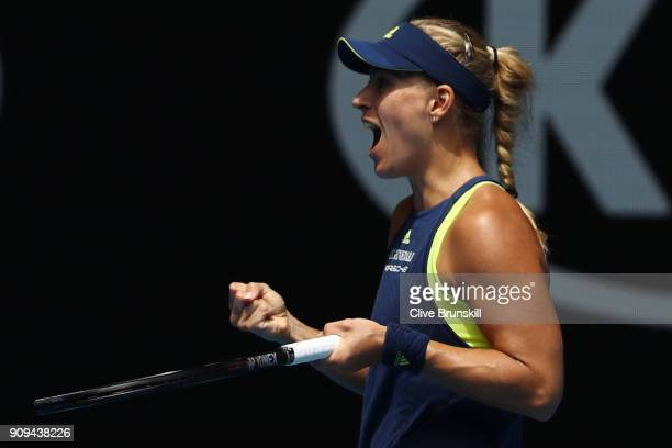 Angelique Kerber of Germany celebrates winning her quarterfinal match against Madison Keys of the United States on day 10 of the 2018 Australian Open...