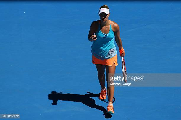 Angelique Kerber of Germany celebrates winning her second round match against Carina Witthoeft of Germany on day three of the 2017 Australian Open at...