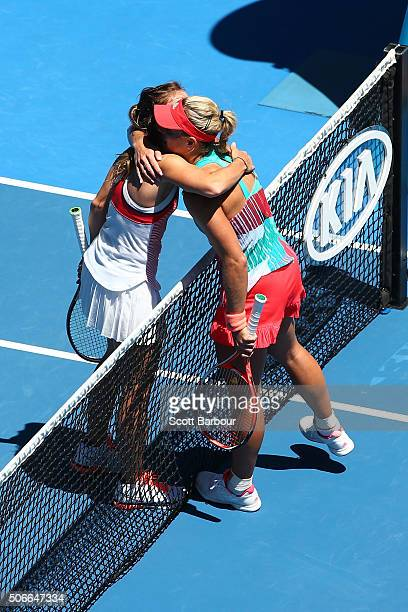 Angelique Kerber of Germany celebrates winning in her fourth round match against Annika Beck of Germany during day eight of the 2016 Australian Open...