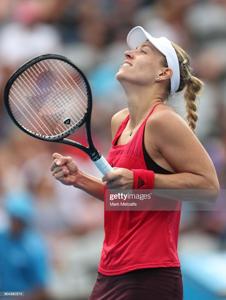 Angelique Kerber of Germany celebrates winning match point in her Women's Singles Final match against Ashleigh Barty of Australia during day seven of the 2018 Sydney International at Sydney Olympic Park Tennis Centre on January 13, 2018 in Sydney, Australia.