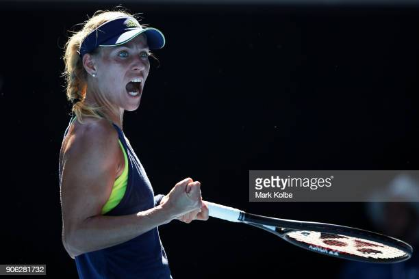 Angelique Kerber of Germany celebrates winning match point in her second round match against Donna Vekic of Croatia on day four of the 2018...