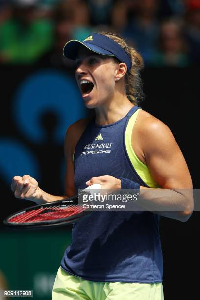 Angelique Kerber of Germany celebrates winning match point in her quarterfinal match against Madison Keys of the United States on day 10 of the 2018...