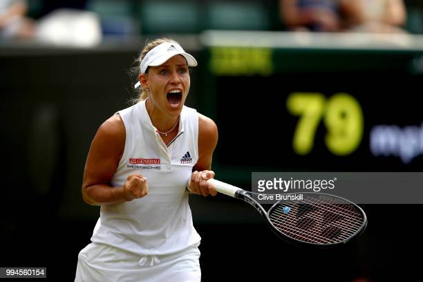 Angelique Kerber of Germany celebrates winning match point in her Ladies' Singles fourth round match against Belinda Bencic of Switzerland on day...