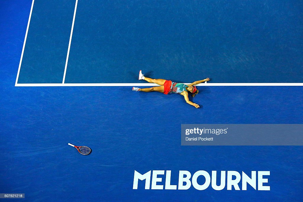 Angelique Kerber of Germany celebrates winning the Women's Singles Final against Serena Williams of the United States during day 13 of the 2016 Australian Open at Melbourne Park on January 30, 2016 in Melbourne, Australia.