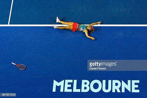 Angelique Kerber of Germany celebrates winning the Women's Singles Final against Serena Williams of the United States during day 13 of the 2016...