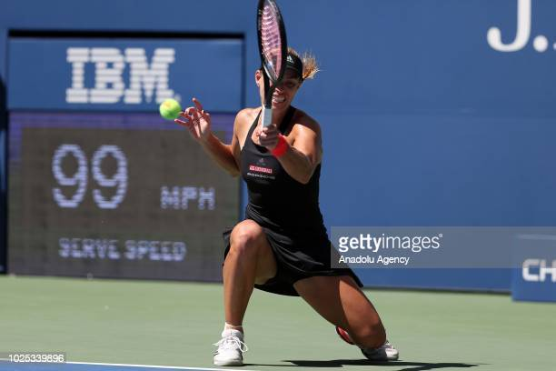 Angelique Kerber of Germany competes against Johanna Larsson of Sweden during US Open 2018 tournament in Arthur Ashe Stadium in Flushing New York...