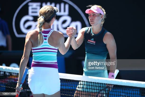 Angelique Kerber of Germany congratulates Danielle Collins of the United States on winning their fourth round match during day seven of the 2019...