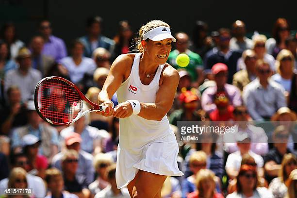Angelique Kerber of Germany during her Ladies' Singles fourth round match against Maria Sharapova of Russia on day eight of the Wimbledon Lawn Tennis...