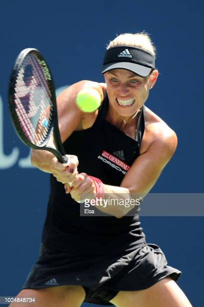 Angelique Kerber of Germany during her women's singles first round match against Margarita Gasparyan of Russia on Day Two of the 2018 US Open at the...