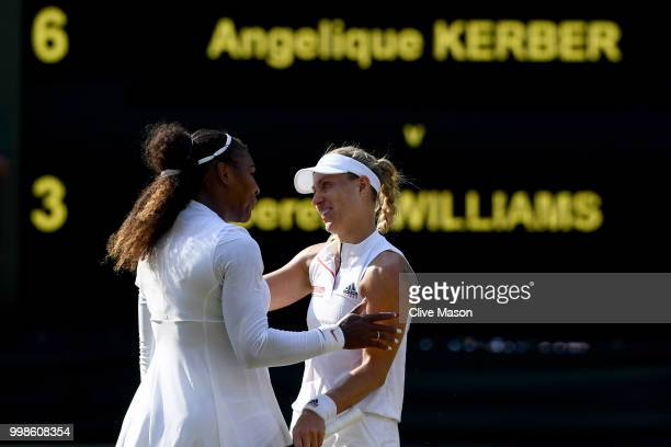 Angelique Kerber of Germany embraces Serena Williams of The United States after the Ladies' Singles final on day twelve of the Wimbledon Lawn Tennis...