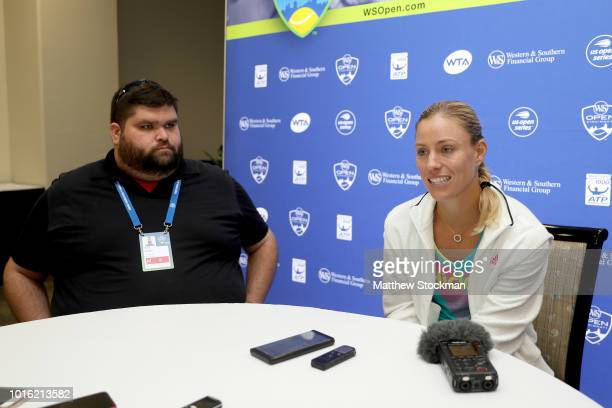 Angelique Kerber of Germany fields questions at the WTA All Access Hour during the Western Southern Open at Lindner Family Tennis Center on August 13...
