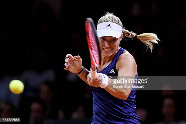 Angelique Kerber of Germany hits a forehand during the Ladies Singles Final match against Caroline Wozniacki of Denmark on day 7 of the Porsche...