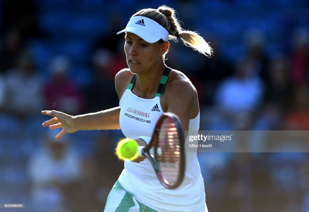 Angelique Kerber of Germany hits a forehand during the ladies singles quarter final match against Johanna konta of Great Britain on day five of the Aegon International Eastbourne at Devonshire Park Lawn Tennis Club on June 29, 2017 in Eastbourne, England.