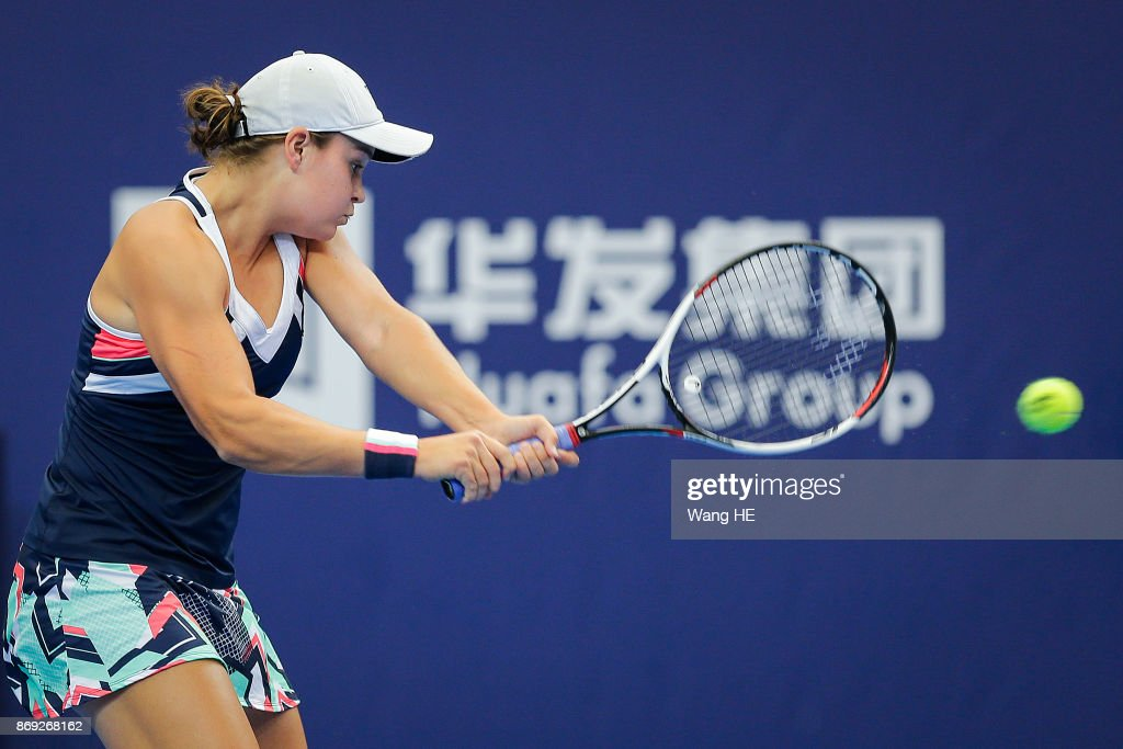 Angelique Kerber of Germany hits a return in her match against Ashlei Barty of Australia during the WTA Elite Trophy Zhuhai 2017 at Hengqin Tennis Center on November 02, 2017 in Zhuhai, China.