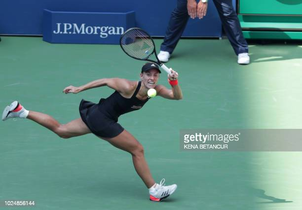 TOPSHOT Angelique Kerber of Germany hits a return to Margarita Gasparyan of Russia during their 2018 US Open women's match August 28 2018 in New York