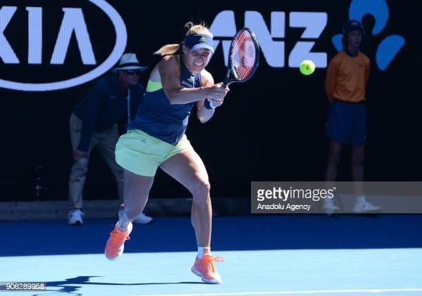 Angelique Kerber of Germany in action against Donna Vekic of Croatia during Men's single match of 2018 Australian Open at Melbourne Park Tennis...