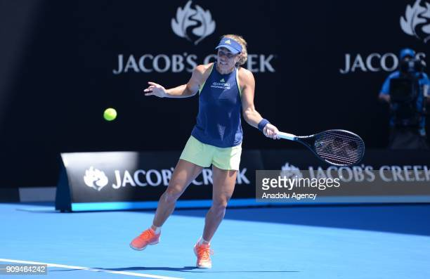 Angelique Kerber of Germany in action against Madison Keys of USA on day ten of the 2018 Australian Open at the Melbourne Park in Melbourne Australia...