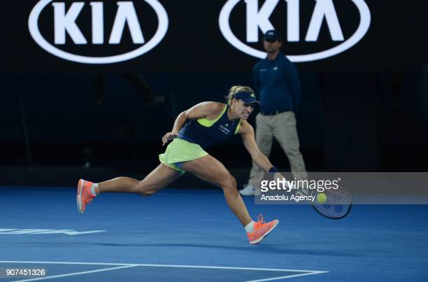 Angelique Kerber of Germany in action against Maria Sharapova of Russia during women's singles third round match within the sixth day of 2018...