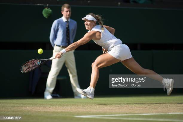 Angelique Kerber of Germany in action against Serena Williams of the United States in the Ladies' Singles Final on Center Court during the Wimbledon...