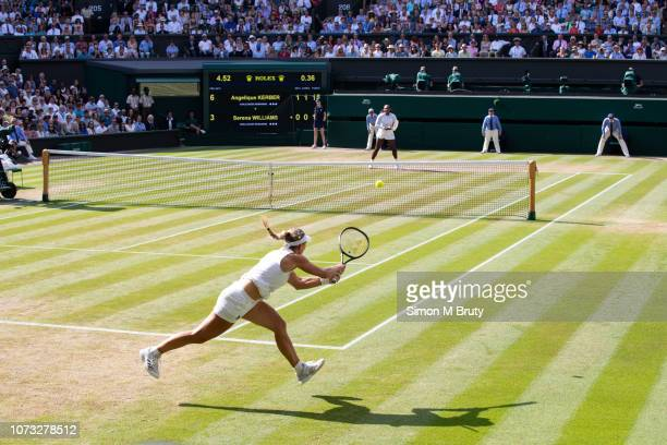 Angelique Kerber of Germany in action against Serena Williams of USA in the Ladies Singles Final on center court during The Wimbledon Lawn Tennis...