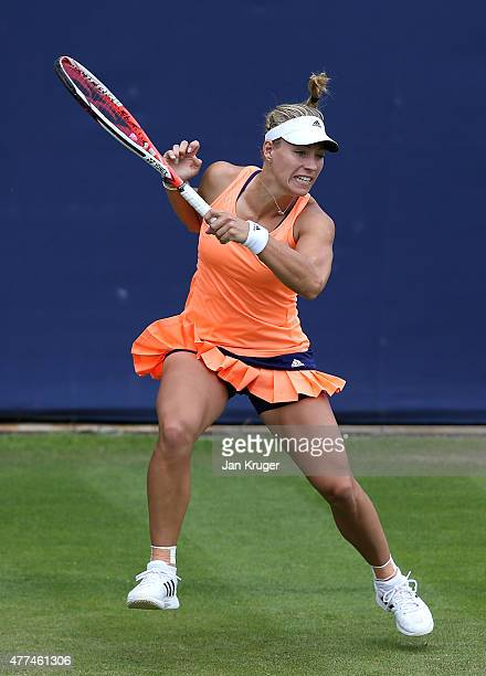 Angelique Kerber of Germany in action against Tsvetana Pironkova of Bulgaria on day three of the Aegon Classic at Edgbaston Priory Club on June 17...