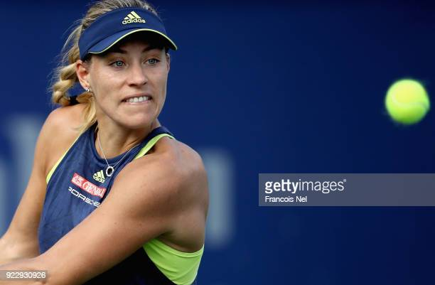 Angelique Kerber of Germany in action during her quarter final match against Karolina Pliskova of Czech Republic on day four of the WTA Dubai Duty...