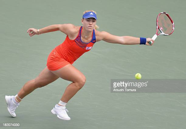 Angelique Kerber of Germany in action during her women's singles final match against Petra Kvitova of Czech Republic during day seven of the Toray...