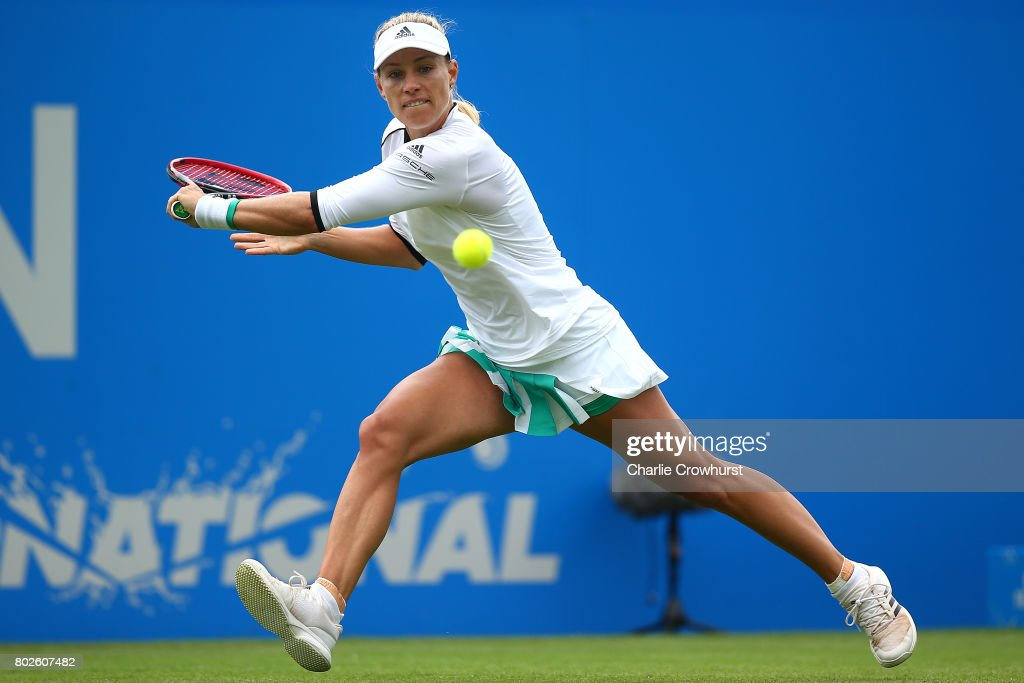 Angelique Kerber of Germany in action during her women's singles match against Kristyna Pliskova of Czech Republic during day four of the Aegon International Eastbourne on June 28, 2017 in Eastbourne, England.
