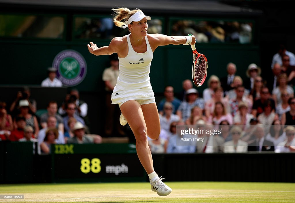 Angelique Kerber of Germany in action during the Ladies Singles Semi Final match against Venus Williams of The United States on day ten of the Wimbledon Lawn Tennis Championships at the All England Lawn Tennis and Croquet Club on July 7, 2016 in London, England.