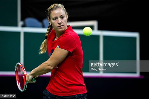 Angelique Kerber of Germany in action during the training session for the Fed Cup Final at O2 Arena on November 5 2014 in Prague Czech Republic The...