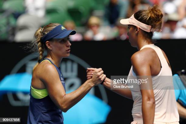 Angelique Kerber of Germany is congratulated by Madison Keys of the United States after Kerber won their quarterfinal match on day 10 of the 2018...