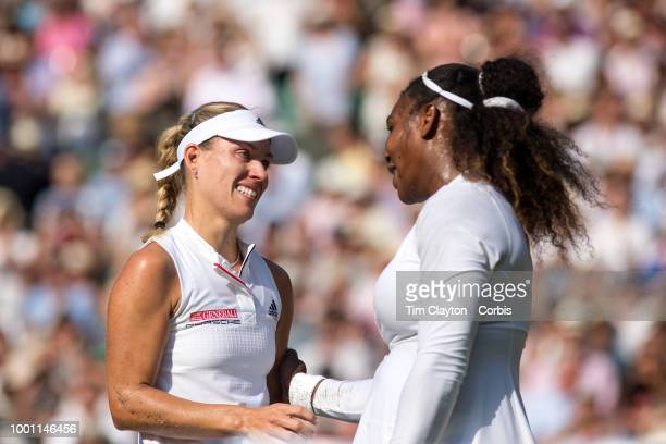 Angelique Kerber of Germany is congratulated by Serena Williams of the United States after her victory in the Ladies' Singles Final on Center Court...