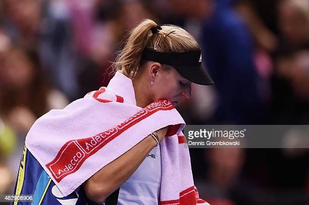 Angelique Kerber of Germany looks dejected after her single match against Jarmila Gajdosova of Australia during the Fed Cup 2015 World Group First...