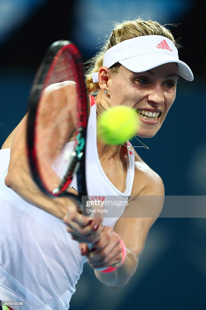 Angelique Kerber of Germany plays a backhand during her quarter final match against Elina Svitolina of the Ukraine during day five of the 2017 Brisbane International at Pat Rafter Arena on January 5, 2017 in Brisbane, Australia.