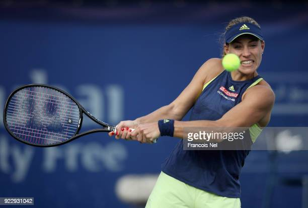 Angelique Kerber of Germany plays a backhand during her quarter final match against Karolina Pliskova of Czech Republic on day four of the WTA Dubai...