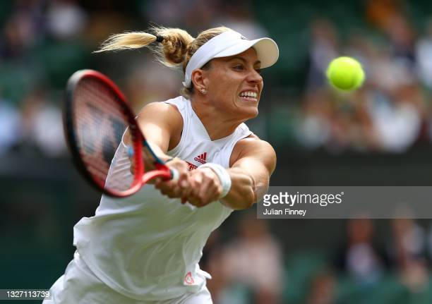 Angelique Kerber of Germany plays a backhand in her Ladies' Singles Fourth Round match against Coco Gauff of The United States during Day Seven of...