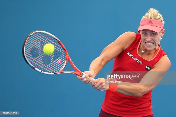 Angelique Kerber of Germany plays a backhand in her match against Madison Brengle of the USA during day four of the 2016 Brisbane International at...