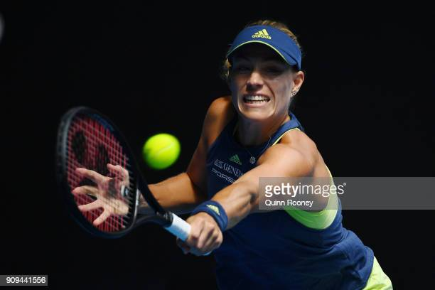 Angelique Kerber of Germany plays a backhand in her quarterfinal match against Madison Keys of the United States on day 10 of the 2018 Australian...