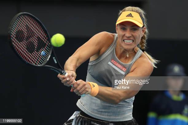 Angelique Kerber of Germany plays a backhand to Dayana Yastremska of the Ukraine during day four of the 2020 Adelaide International at Memorial Drive...