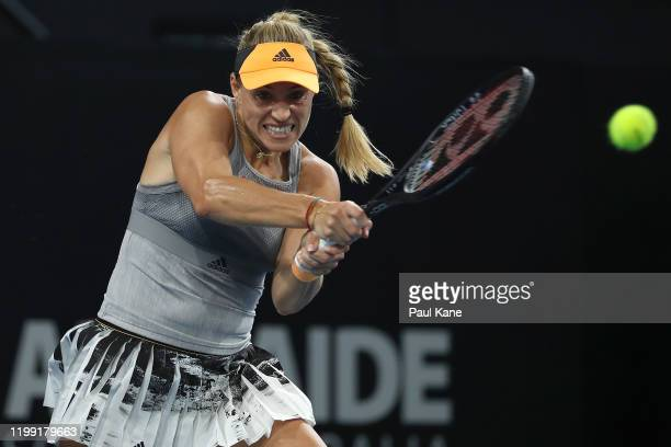 Angelique Kerber of Germany plays a backhand to Qiang Wang of China during day two of the 2020 Adelaide International at Memorial Drive on January 13...