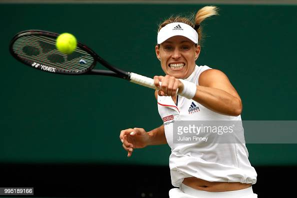 Angelique Kerber of Germany plays a forehand against Daria Kasatkina of Russia during their Ladies' Singles QuarterFinals match on day eight of the...