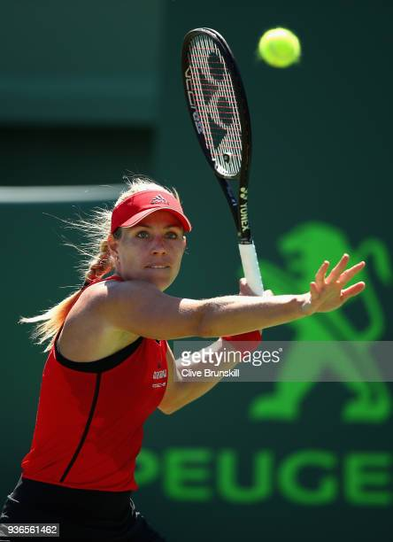 Angelique Kerber of Germany plays a forehand against Johanna Larsson of Sweden in their second round match during the Miami Open Presented by Itau at...